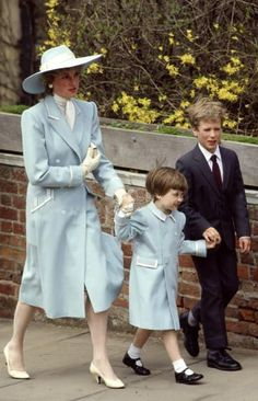 April 19, 1987: Princess Diana with Prince William and Peter Phillips attending St. George's Chapel for Easter service.
