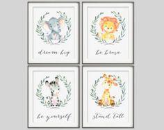 Neutral Nursery Set of 8 Prints Baby Animals Watercolor