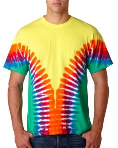96 Gildan Adult Multi-Color V-Design Tie-Dye Tee Brighten up your whole day with tie-dye. preshrunk 100% heavyweight cotton 5.3-oz at Gotapparel.com.