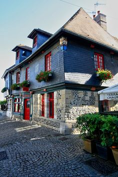 Honfleur, Normandy, France - an example of tile-covered stone buildings of the 17th century