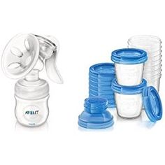Philips Avent Manual Comfort Breast Pump and Breast Milk Storage Cups, 6 Ounce (Pack of 10)