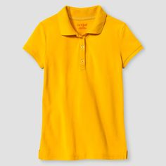 Girls' Short Sleeve Pique Polo Shirt Cat & Jack - Gold XL, Girl's
