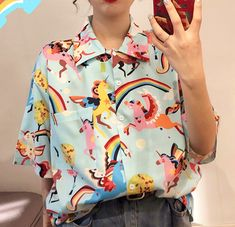 Rainbow Unicorn Short Sleeve Blouse sold by Violetlace Boutique. Quirky Fashion, Kawaii Fashion, Cute Fashion, Fashion Outfits, Retro Outfits, Cool Outfits, Camisa Retro, Looks Hip Hop, Bluse Outfit
