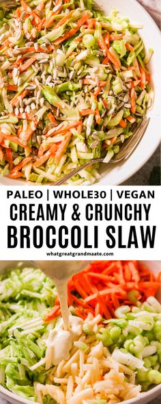 This delicious homemade broccoli slaw can be made using packaged broccoli slaw or you can easily make your own broccoli slaw mix. So crunchy, healthy, and quick too! Roasted Vegetable Recipes, Broccoli Recipes, Veggie Recipes, Real Food Recipes, Salad Recipes Gluten Free, Healthy Salad Recipes, Healthy Side Dishes, Side Dishes Easy, Side Recipes