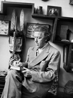 André Breton (1896-1966), French writer and poet, Surrealism founder, 1950 // photo by Boris Lipnitzki