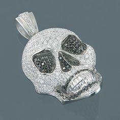14K Gold White Black Diamond Skull Pendant 7.80ct | Flickr - Photo Sharing!