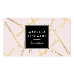 Chic Gold Bobby Pins Hair Stylist Salon Pink Business Card