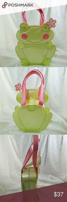 "GYMBOREE *rare* Leapin Lily Pads Girls Frog Purse Brand: Gymboree  Item: *Very Rare & Hard to Find We Have a Patent Light Green & Soft Pink Frog Purse from the Leapin' Lily Pad Collection *It Folds Together and is Secured with a Velcro Strap *The Interior is Pink & White Checkered Pattern *Measures Approx 6""w x 7""h x 2""d. The Drop is 3"" *There are some Pen Marks on the Inside That You Should Be Able to See in Pic 4, Otherwise Excellent Condition  *no trades, offers via offer button only…"