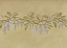 Wisteria stencil border. Elegant wall designs from Cutting Edge Stencils. Sturdy, reusable stencils, great prices!