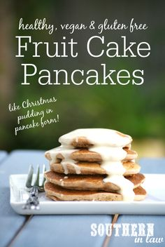 Kristy from Southern In Law puts a healthy breakfast twist on the classic Fruit Cake/Christmas Pudding with these Healthy Fruit Cake Pancakes that are also low fat, gluten free, vegan and egg and dairy free! Perfect for Christmas morning!
