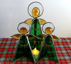 Vintage Emerald Green & Amber Stained Glass Angel Trio Stand Centerpiece by TimelessTreasuresbyM on Etsy