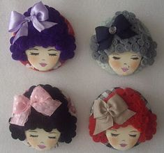 Cd Crafts, Hobbies And Crafts, Felt Crafts, Arts And Crafts, Felt Brooch, Beaded Brooch, Felt Dolls, Paper Dolls, Felt Doll Patterns