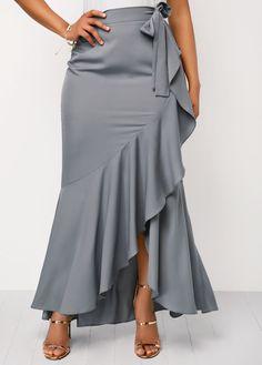 Bow Side Grey Frill Hem Skirt | liligal.com - USD $32.06