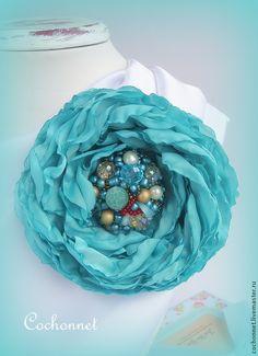 Купить Цветок брошь или заколка ручной работы бирюзовый - бирюзовый, тёмно-бирюзовый, цветок