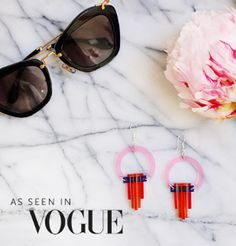 Pretty in pink and featured in Vogue, this Art Deco earrings are timelessly stylish. #larastone #fashion #peonies