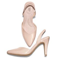 """The ultimate uptown pump, this patent-leatherlike slingback is perfect for work or play. Features a pointed toe with a Sweetheart-cut vamp that comes to a deep """"V"""" at the toe cleavage and a 3 1/2"""" H heel. Whole sizes only. Half sizes, order one size up. Imported."""
