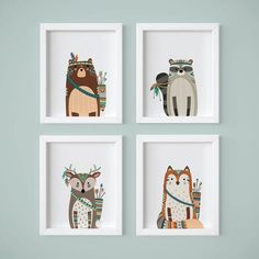 These four prints would be great for a woodlands or tribal themed nursery. The woodland creatures are adorable! Perfect for the playroom, child's room, nursery,