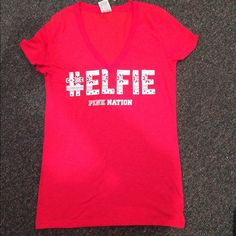 Victoria's Secret PINK #Elfie Red V Neck Top This is brand new with tags! It is super cute for the holidays! PINK Victoria's Secret Tops Tees - Short Sleeve