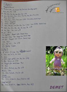 amigurumi doll pattern, amigurumi free pattern, amigurumi b Amigurumi Doll Pattern, Amigurumi Toys, Needlework, Free Pattern, Crochet Patterns, Eminem, Dolls, Drawings, Free Amigurumi Patterns
