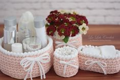 Diy Crafts - Crochet Basket Set of 4 Nursery decor, dorm decor, cosmetics skincare storage, crochet bowl, handmad Crochet Scrubbies, Crochet Bowl, Quick Crochet, Home Decor Colors, Colorful Decor, Handmade Decorations, Dorm Decorations, Diy Crafts Crochet, Crochet Gifts