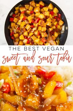 Sweet and Sour Tofu -- This quick and easy vegan recipe is full of flavor! Learn how to make crispy stir fry tofu with veggies covered in a homemade sauce. Pair with rice for the perfect vegan and vegetarian meal! Healthy Chinese Recipes, Vegetarian Lunch, Vegetarian Recipes Dinner, Tofu Recipes, Vegan Recipes Easy, Whole Food Recipes, Cooking Recipes, Cooking Tips, Quick Easy Vegan