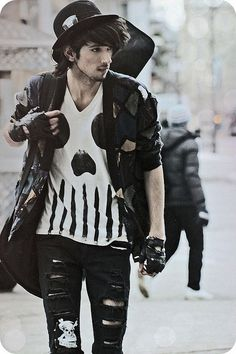 Ripped jeans. Gothic themed clothes. Love them.