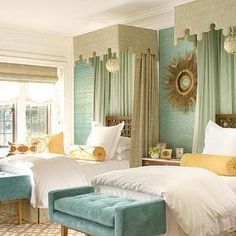 Elizabeth Dinkel Design - bedrooms - guest, twin, beds, seafoam, green, canopy, blue, tufted, bench, yellow, bolster, pillows, green, blue, yellow, bedroom,