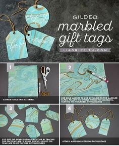 We love these personalized gift tags from Whether you have a wedding coming up or you need to add a handmade touch to a gift, we think this is the perfect DIY. Paper Tags, Diy Paper, Paper Crafts, Handmade Gift Tags, Personalized Gift Tags, Paper Flower Tutorial, Craft Bags, Wedding Crafts, Diy Invitations