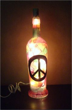 Wine Bottle Lamp Peace Love and Light by AmeRayn on Etsy, $17.00