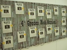 """I took photos of the students in which they were wearing a bandana, hat, and holding up a mustache. They had to complete the wanted poster by writing about why they were wanted in 4th grade--the awesome traits and abilities they brought to our class. I covered the bulletin board with a western scene setter backdrop from a party store."""
