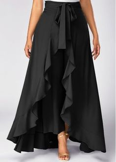 Side Zipper Black Tie Waist Overlay Pants   Rosewe.com - USD $31.40