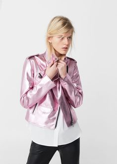 Crystals metallic jacket | MANGO Metallic Look, Metallic Jacket, Metallic Leather, Pink Jacket, Jacket Style, Mango France, Spring Fashion, Style Me, Jackets For Women
