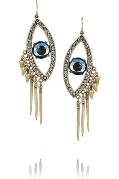 lulu frost icon silver tone crystal earrings evil eye earrings crystal earrings