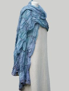 Silk Long Scarf Turquoise Violet Hand Dyed Nuno Felt by IdaKogan