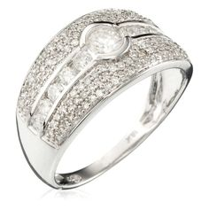 White Gold 'Jonc Lumineux' Ring with Diamonds (0.75 ct) (DIAMANTA2 1058968)