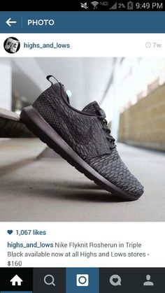 9393be637 Nike flyknit roshe run 3 tone black