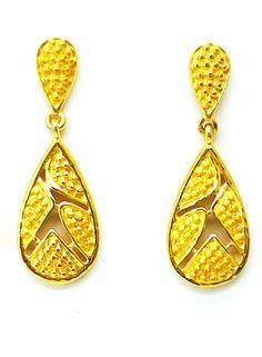 New Gold Earrings/Drop/Dangler Different Design 22ct 22k (916 Pure) Bis Hallmark