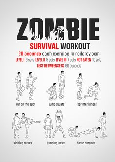 Zombie Apocalypse survival workout. This site has LOTS of fun themed workouts for free!