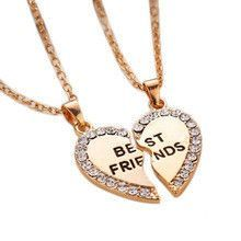 Best Friends Rhinestone Heart Pendant Necklace  Shownow Products