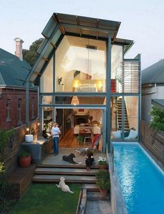 25 Beautiful Small Backyard Designs with Swimming Pool - Page 12 of 25 Small Backyard Design, Small Backyard Landscaping, Small House Design, Modern House Design, Pool Backyard, Backyard Designs, Swimming Pool Designs, Swimming Pools, Future House