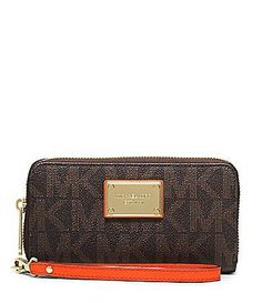 Michael Kors Jet Set Large Coin Multi-function Phone Case Wristlet Brown/clementine >>> Read more reviews of the product by visiting the link on the image.