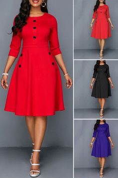 Dress Buttons Vintage A Line Dress : Explore the many versatile looks that can be put together with this dress. Get it now and stand out from the crowd with your unique fashion statement that cannot be duplicated. Wear it all season round for work, dinner Winter Dresses, Casual Dresses, Fashion Dresses, Elegant Dresses, Winter Outfits, Swing Dance Dress, Dance Dresses, Work Fashion, Unique Fashion
