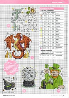 cross stitch - fantasy motifs (2/6) - dragon, leprechaun