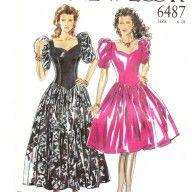 1980s sweetheart neckline party dresses vintage sewing pattern