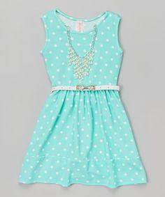 $19.99 Love this Mint Polka Dot Belted Dress & Necklace - Kids & Tween on #zulily! #zulilyfinds