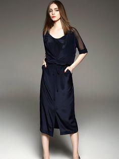 #StyleWe Shop ELENYUN Dresses - Navy Blue Plain Casual H-line Midi Dress online. Discover unique designers fashion at AdoreWe.net.