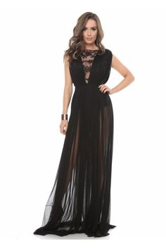 Black Crew Neck Sleeveless See-through Look A-line Silk Tulle Party Dress with Bodice Prom Dresses, Formal Dresses, Mother Of The Bride, Fashion Online, Party Dress, Tulle, Clothes For Women, Womens Fashion, Crew Neck