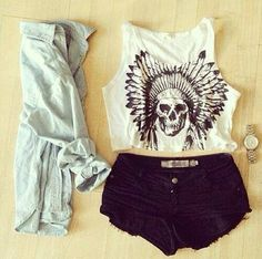 White tank, long-sleeved denim shirt, black denim shorts and vintage watch - http://ninjacosmico.com/17-hipster-outfits-try-spring/