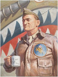General Claire Lee Chennault of the Flying Tigers. Military Art, Military History, Military Jackets, Bomber Jackets, Illustration Avion, David Bowie, David Lee, Grand Prix, Pilot Uniform