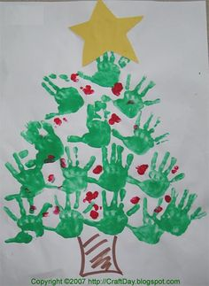Christmas Tree Hands - Red Hearts for ornaments, made of thumbprints.